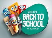Back To School Vector Banner Design With Colorful Funny School Characters A, Education Items And Spa poster
