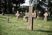 Постер, плакат: Заплесневелые каменных крестов в кладбище