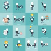 Human Resources And Management Icon Set. Business, Management And Finances Icon Set. Flat Vector Ill poster