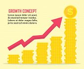 Dollar Growth Concept. Dollar Revenue Illustration. Stacks Of Gold Coins Like Income Graph With Doll poster