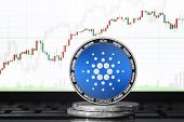 Cardano (ada) Cryptocurrency; Physical Concept Cardano Coin On The Background Of The Chart poster