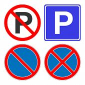 No Parking, No Stopping, No Waiting, No Standing Sign. Parking Area Sign. Vector Icon. poster