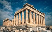Beautiful Sunny View Of Parthenon On The Acropolis Of Athens, Greece. The Famous Ancient Greek Parth poster