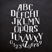 Hand Drawn Brush Ink Vector Abc Letters Set. Textured Artistic Typeset For Your Design. Font Illustr poster