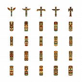 Totem Icons Set. Cartoon Illustration Of 25 Totem Vector Icons For Web And Advertising. Culture Elem poster