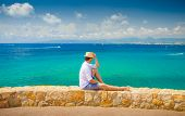 Salou Resort. Costa Dorada Coastline. Young Man Enjoying Summer Sea View. Man On Blue Sea And Clear  poster