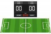 Soccer Field, Soccer Field With Tabloid Tab. Football Banner. Flat Design, Vector Illustration, Vect poster