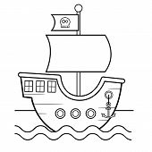 Coloring Page For Kids. Cartoon Pirates Ship. Vector Illustration. poster