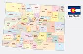 The Colorado Administrative And Political Vector Map poster