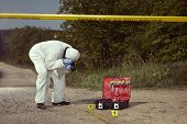 Crime Scene Investigation - Exploring Of Car Tire Print Left On Crime Scene poster