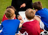 Children Football Team With Coach At The Soccer Field. Kids Coach Explaining The Tactics Board. Boys poster