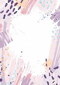 Creative Vertical Backdrop Decorated With Pink And Purple Pastel Paint Traces, Blots And Brush Strok poster