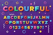 Colourful Bold Alphabet. Urban Old Vivid Color Vector Font. Alphabet And Abc Trendy Typeface, Typogr poster