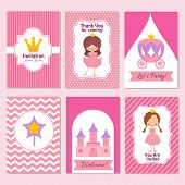 Child Happy Birthday And Princess Party Pink Invitation Vector Template. Celebration Invite, Castle  poster