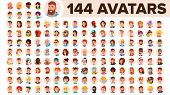 People Avatar Set Vector. Man, Woman. Default Placeholder. Colored Member. User Person. Expressive P poster