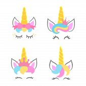 Cute Unicorn Faces. Unicorn Heads. Unicorn Constructor. Vector poster