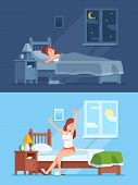 Lady Peaceful Sleeping Under Duvet In Comfortable Bed At Night, Waking Up In Morning And Stretching  poster
