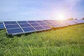 Solar Panel, Photovoltaic, Alternative Electricity Source - Selective Focus, Copy Space. poster