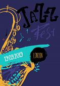 Jazz Music Poster, Ticket Or Program. Hand Drawn Illustration With Brush Strokes For Jazz Festival. poster