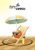 Enjoy The Summer! Sports Card. Basketball Ball With Sun Glasses, Beach Umbrella, Deck Chair And Wate poster