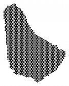 Постер, плакат: Honeycomb Barbados Map Vector Territorial Scheme On A White Background Abstract Barbados Map Colla