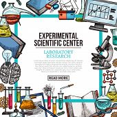 Experimental Scientific Center Poster With Laboratory Equipment And Lab Glass Frame. Chemical Test T poster