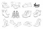 Vector Illustration Of Set Hand Drawn Graphic Men And Women Footwear, Shoes. Shoe For Casual, Sport  poster