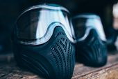 Paintball mask with glasses closeup, nobody poster
