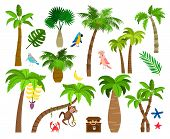 Tropical Palm Trees. Brazil Nature Elements Like Different Palm Leaves, Parrot And Monkey Vector Ill poster
