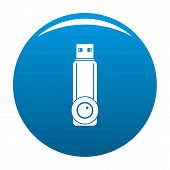 Plastic Flash Drive Icon. Simple Illustration Of Plastic Flash Drive Vector Icon For Any Design Blue poster