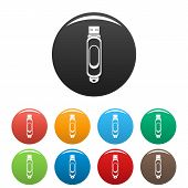 Mini Usb Icon. Simple Illustration Of Mini Usb Vector Icons Set Color Isolated On White poster
