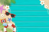 Summer Background. Top View With Sunglasses, Starfish, Camera, Lifebuoy, Flower And Leaf On Blue Woo poster