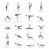 Cartoon Woman Yoga Poses Icons Set Fitness Exercise For Female Body Concept Flat Design Style. Vecto poster