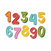 Cute Colorful Handdrawn Numbers Set  With Dots For Kids Made In Vector. Doodle Math Elements From 0  poster