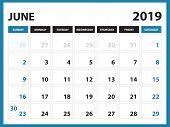 Desk Calendar For June 2019 Template, Printable Calendar, Planner Design Template,  Week Starts On S poster