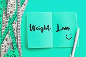 Weight Loss And Diet Control Concept Background. Colorful Of A Measuring Tape On Vibrant Blue Color  poster