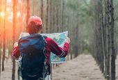 Asian Woman Travel With Backpack At Spruce Forest Looking Map The Route Go To Destinations, Girl Tra poster