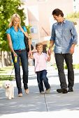 image of happy family  - Family walking with dog in city street - JPG