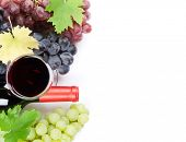 Wine and grapes. Isolated on white background. Top view with space for your text poster