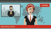 Breaking News Concept. News Anchor Broadcasting The News With A Reporter Live On Screen. Flat Vector poster