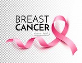 Breast Cancer Awareness Poster Template With Realistic Pink Ribbon In White Frame With Inscription.  poster
