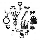 Doll Princess Items Icons Set. Simple Illustration Of 16 Doll Princess Items Vector Icons For Web poster