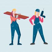 Template Vector Feminist Design With Flat Illustration Women Working A Builder As A Men poster