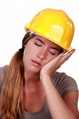 Tired construction worker