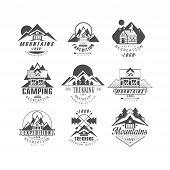 Mountain, Expedition Logo Set, Camping, Trekking Retro Badges In Monochrome Style Vector Illustratio poster