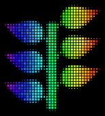 Pixel Colorful Halftone Flora Plant Icon In Spectrum Color Hues With Horizontal Gradient On A Black  poster