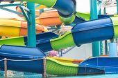 Water Slide In Aqua Park For Swimming poster