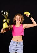 Victory, Winner And Success Concept - Excited And Joyful Fighter Boxer Girl Wearing Boxing Gloves Ce poster
