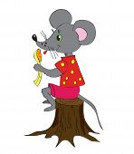 pic of fancy mouse  - Gray mouse on hemp with a spoon - JPG