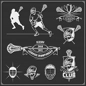 Lacrosse Club Labels, Emblems, Design Elements And Silhouettes Of The Players. poster
